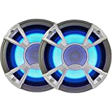 """Clarion Corporation of America CMQ1622RL Marine Coaxial Speaker with built-in Blue LED Light 6.5"""" Silver"""
