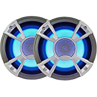 Clarion Corporation of America CMQ1622RL Marine Coaxial Speaker with built-in Blue LED Light 6.5 Silver
