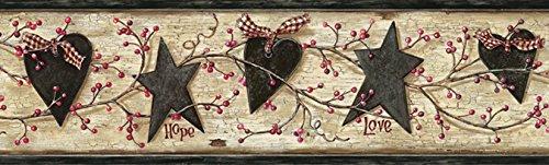 Chesapeake PUR44532B Dorothy Sand Star Heart Sprig Wallpaper Border
