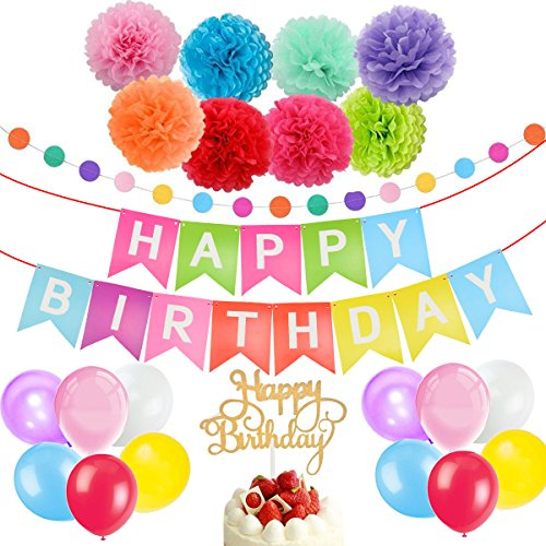 Good Birthday Decorations Happy Banner Party Supplies Rainbow BannerBirthday