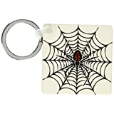 3dRose Black Widow Spider in a Web Key Chains, 2.25