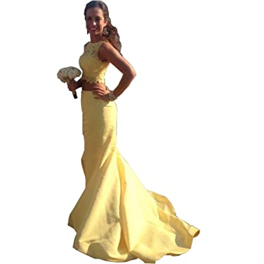 Chady Fashionable Appliques Yellow Mermaid Prom Dress Long 2017 Girl Graduation Gown Cheap Two Piece Prom