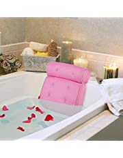 "AUMA Original Premium Spa Bath Pillow with 4 Suction Cups, 15"" x 14"", 4"" Thick Comfortable Luxury Design, Quick Drying, Cushion Provides Head, Neck, Shoulder Support Bath Tub Pillow in Tub (Pink)"
