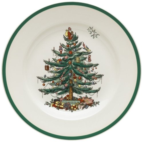 Spode Christmas Tree 10-1/2-Inch Dinner Plates, Set of 4