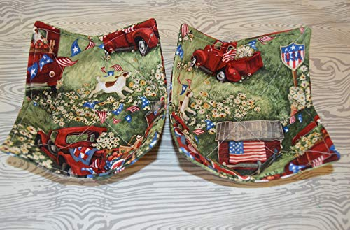 Red Truck Patriotic Fabric Bowl Cozies Set of -