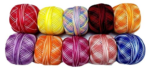 Shaded - LOT Set of 10-100% Cotton Mercer Yarn Thread - Crochet Lace Knitting Embroidery (10 Balls - 200 Grams) - DESI HAWKER