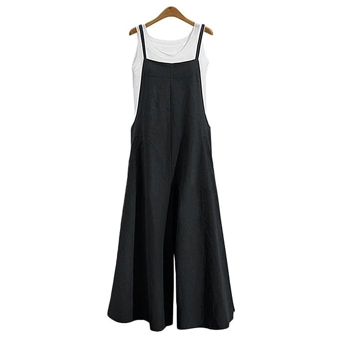 Amazon.com: hontiano Jumpsuits para Mujer Larga Suelta ...