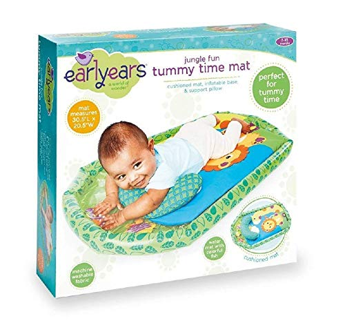 Earlyears Jungle Fun Tummy Time Mat  Cushioned Mat, Inflatable Base, & Support Pillow