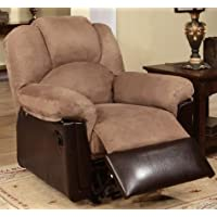 Poundex Espresso Bobkona Rocker Recliner in Saddle Microfiber