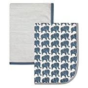Hudson Baby Interlock Cotton 2 Piece Swaddle Blanket, Boy Elephant