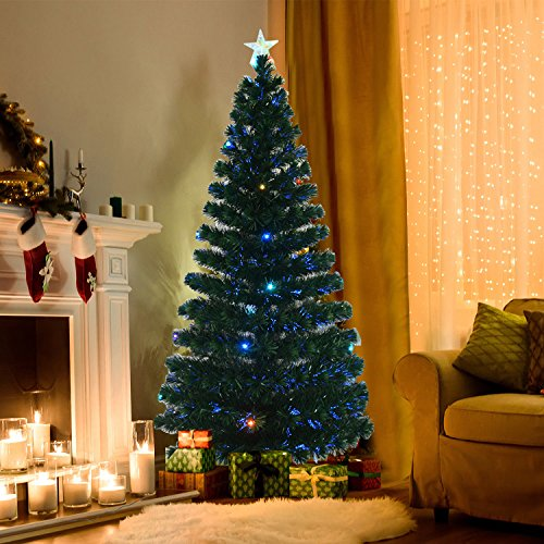 Where To Buy A Pre Lit Christmas Tree: 6' Fiber Optic W/ 24 LED Lights Holiday Pre-Lit Artificial