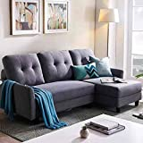 HONBAY L Shape Couch Bed Sofa Reversible Sleeper Sectional Corner Couch with Storage Chaise Right Hand Facing