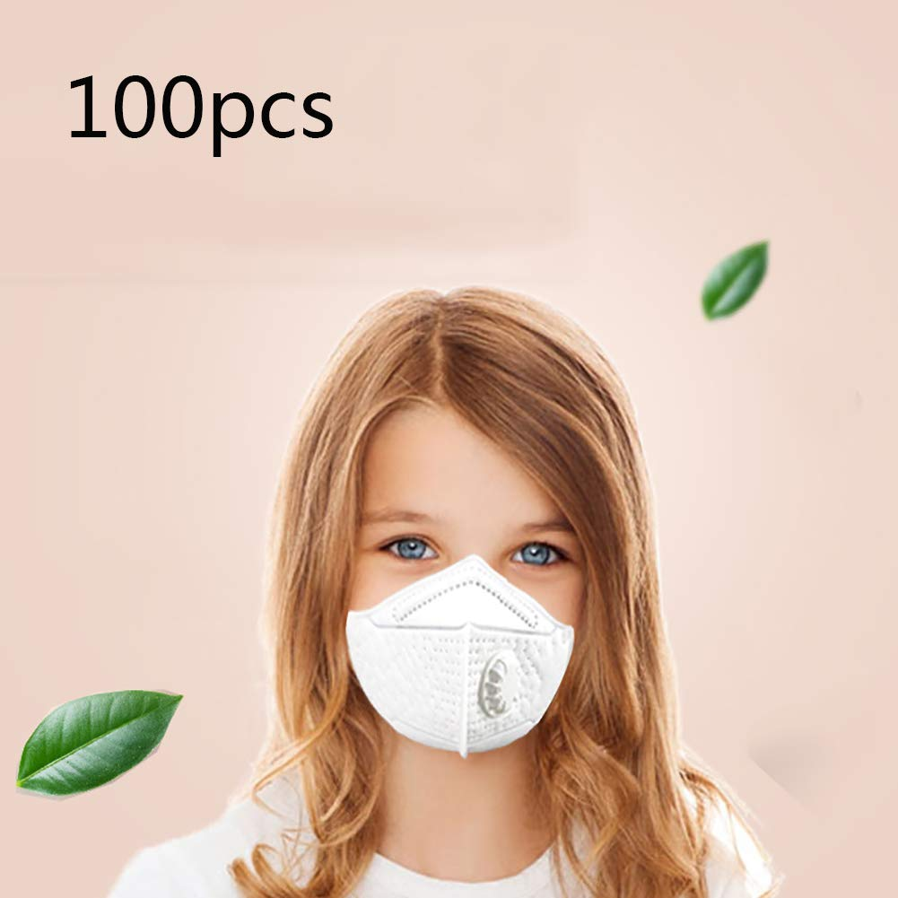 Children's Disposable Mask, Clean Breathing Valve Foldable Personal Protective Elastic Ear Ring Breathable White Unisex 100 Count