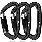 Favofit Auto Locking Rock Climbing Carabiner Clips, 3 Pack, Certified 25KN (5620 lbs) Heavy Duty Caribeaners for Rappelling Swing...