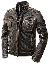 Mens Motorcycle Brown Vintage Distressed Cafe Racer Slim Fit Leather Jacket