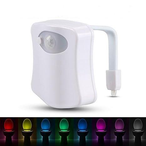 Golden Seeds Luz de WC LED Lampara la del Inodoro Sensor de Movimiento 8 Colores Iluminación