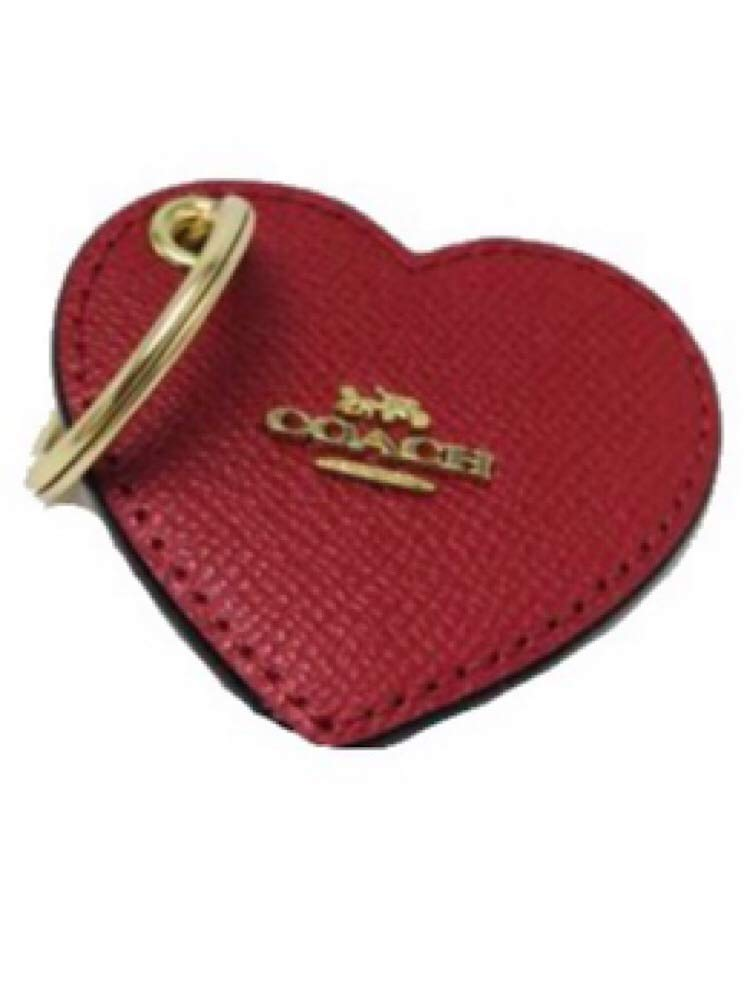 Coach Leather Signature Heart Bag Charm Key Ring Fob True Red F66645 by Coach