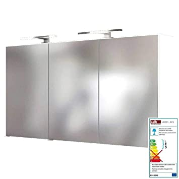 Lomadox Badezimmer Spiegelschrank LED Beleuchtung 120cm matt weiß B/H/T:  120/66/20cm