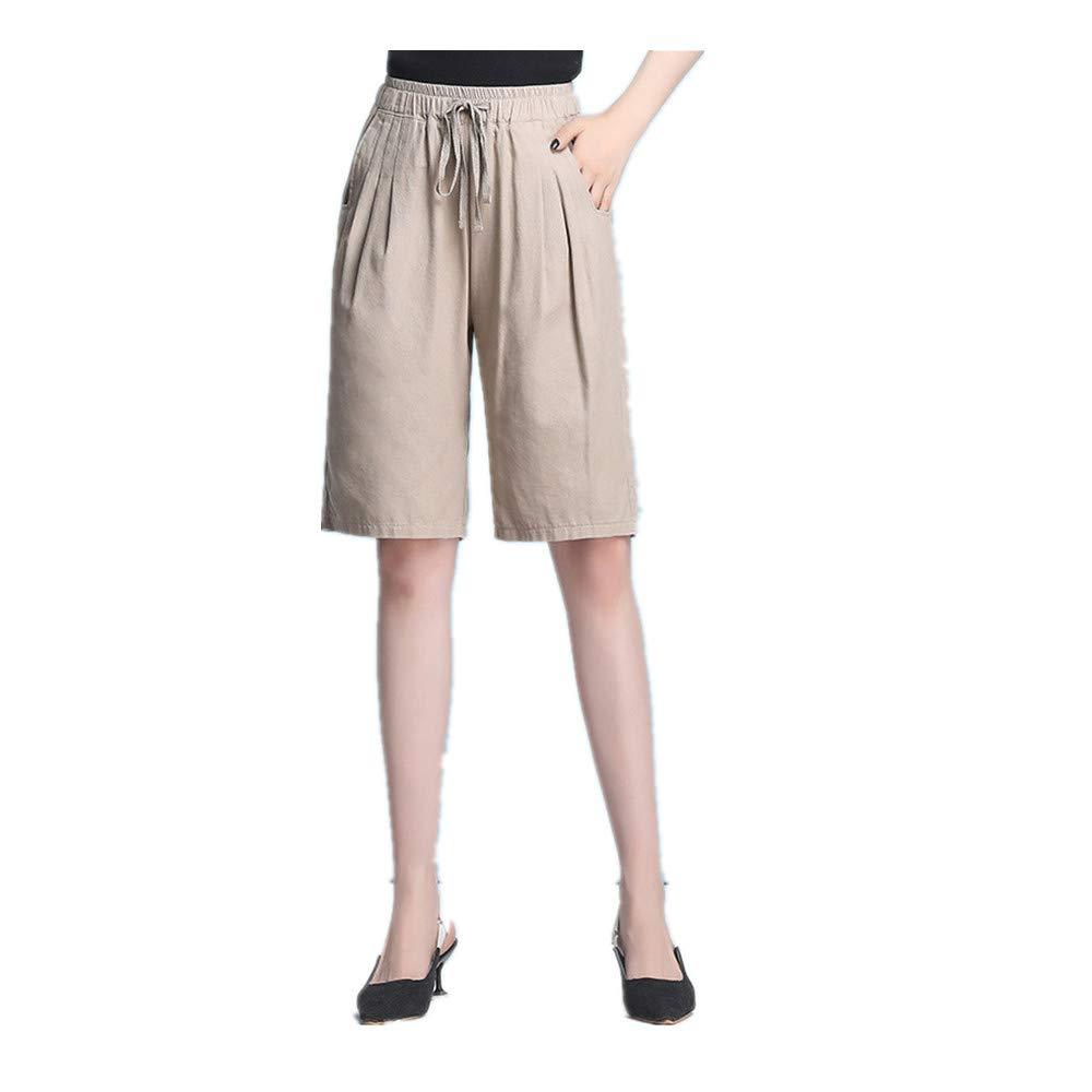 Women/'s Modest Loose Elastic-Waisted Bermuda Drawstring Casual Shorts Khaki