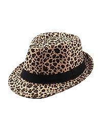 Felt Trilby Hat Men Women Autumn Winter Leopard Fedora Jazz Hats Multicolor