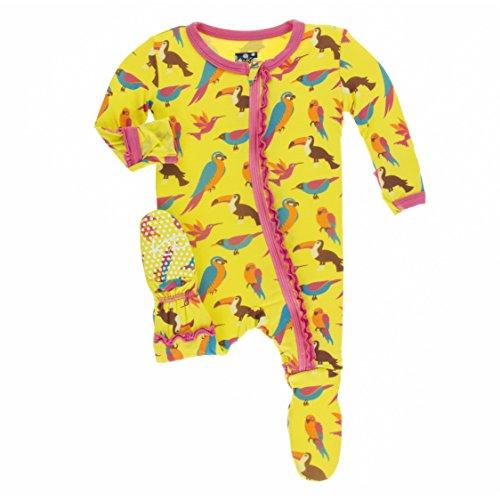 Kickee Pants Little Girls Print Muffin Ruffle Footie With Zipper - Banana Tropical Birds, 12-18 Months - Kicky Pants Girl
