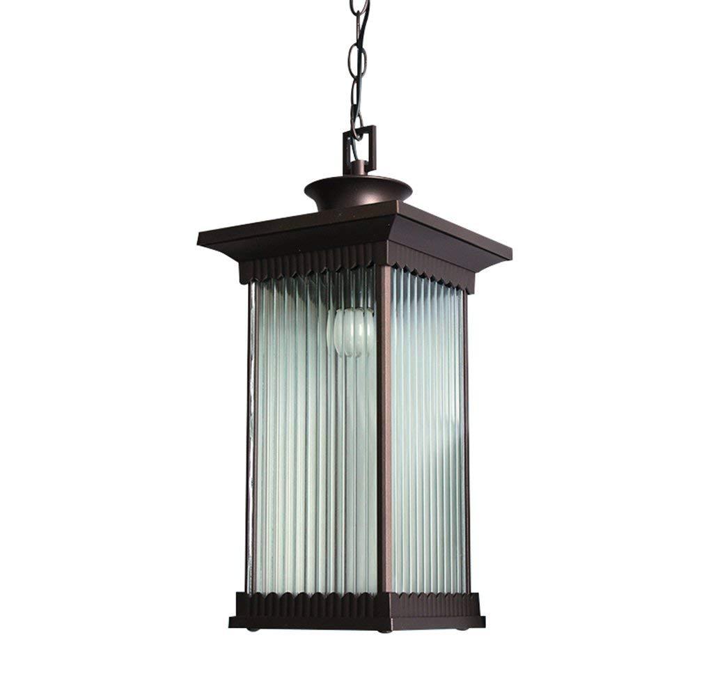 TJZY Novely Chandeliers-Chandelier+Pendant Light Aluminum Lamp Body Glass Lampshade Outdoor Waterproof for Balcony Hallway Courtyard Garden 24.5 47Cm, Creative Decorative Lighting