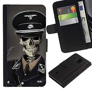 Protector de cuero de la PU de la cubierta del estilo de la carpeta del tirón BY RAYDREAMMM - Samsung Galaxy S5 Mini, SM-G800 - SS Soldado
