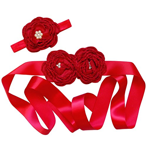 So Sydney Toddler Girls Vintage Style Chiffon and Lace Princess Sash For Dress (Ribbon Flower Sash, Deep Red)