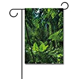 Wondertify Garden Flags Plant Green Jungle Untouched Nature Environmental Concerns Flora Fauna Jungle Rainforest Double Sided House Decoration Polyester Garden Flag 18 X 27 Inches
