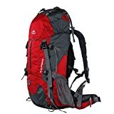 Topsky Internal Frame Backpack Hiking Backpacking Packs Travel Backpack with Rain Cover for Outdoor Sports Camping Climbing Mountaineering(Red, 50L) For Sale