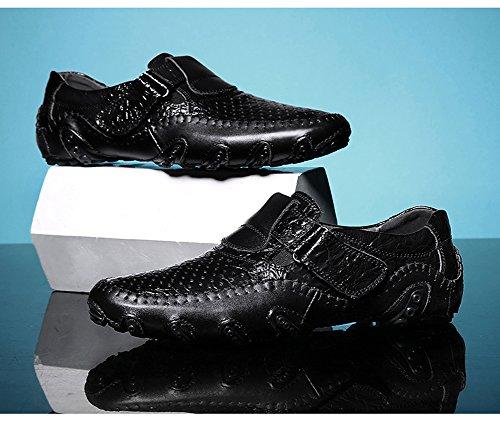 de Zapatos Mocasín Náuticos Cordones para Negro Cuero Sandalias Piel Casual Mocasines Hombre wgq4ExC