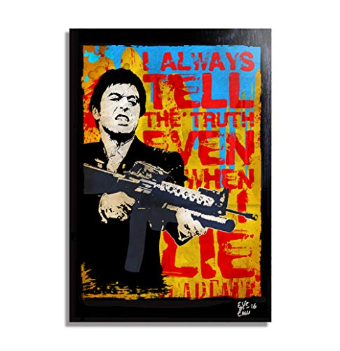 (Tony Montana (Al Pacino) in Scarface - Pop-Art Original Framed Fine Art Painting, Image on Canvas, Artwork, Movie Poster)