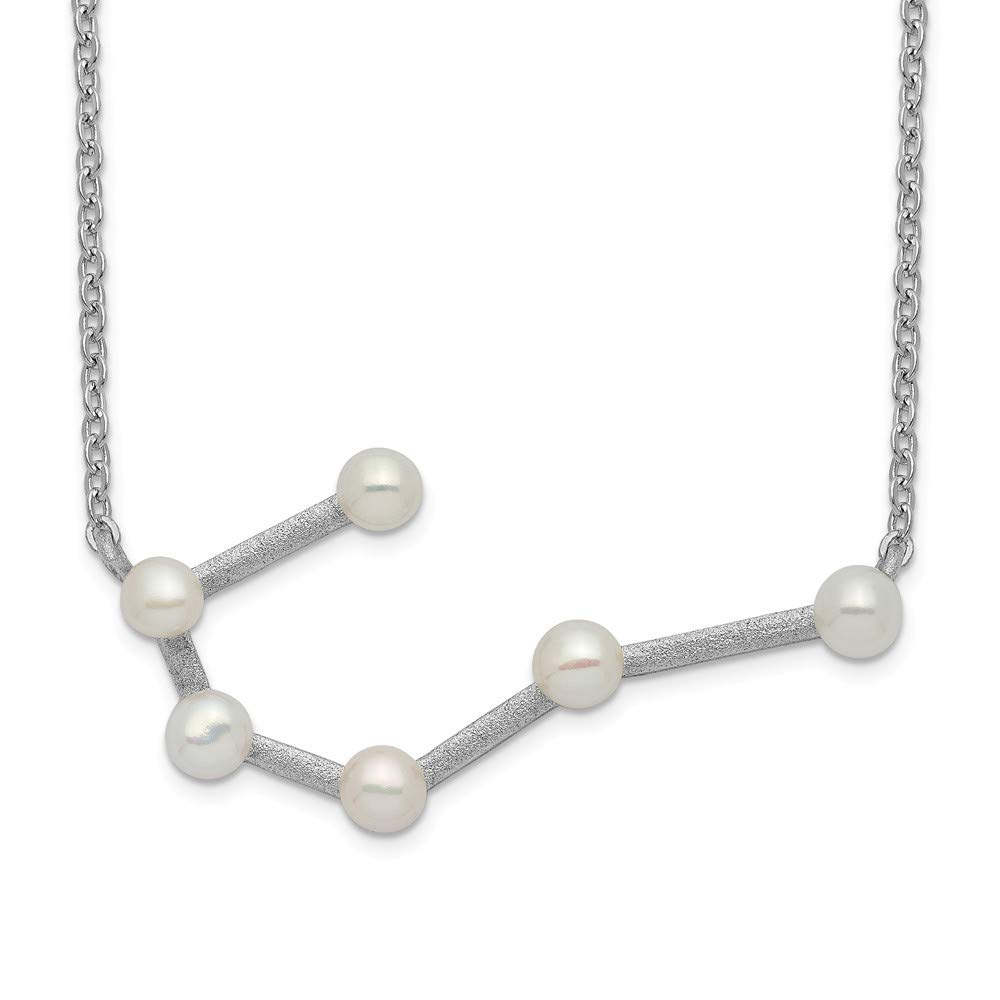 925 Sterling Silver Rhod Plat 6 4mm Freshwater Cultured Pearl Cancer 1 Inch Extension Chain Necklace Pendant Charm Fancy Sun Moon Star Fine Jewelry Gifts For Women For Her
