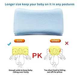 Mkicesky Soft Memory Foam Baby Pillow for Newborn Sleeping Prevent Flat Head and Neck Suppport,Wide Anti-roll Pillow for Bed Stroller Bassinet Crib Bouncer