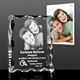 Custom Personalized 2D/3D Laser Beveled Crystal Photo Landscape Engraving Etched Gift,Wedding Ornament,Anniversary and Christmas Gifts (Medium)
