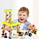 Yunt Pounding Bench Wooden Toy, Multifunctional Hammering and Pounding Toys Chair Wooden Puzzle Toys