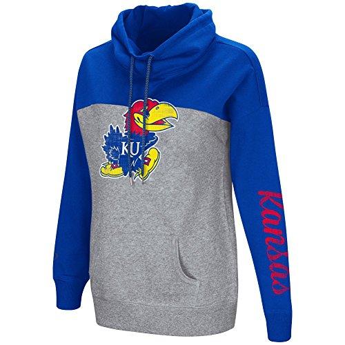 Colosseum Women's NCAA-Springboard Funnel Neck Hoodie Pullover Sweathsirt-Kansas Jayhawks-Royal-Medium