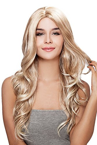 Kalyss Women's wig Long Curly Weave Blonde Heat Resistant Synthetic Hair (Blonde Curly Wig)