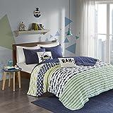 Urban Habitat Kids Finn Twin/Twin Xl Bedding Sets Boys Quilt Set - Green, Navy , Shark Stripe - 4 Piece Kids Quilt For Boys - 100% Cotton Quilt Sets Coverlet