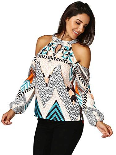 Glamaker Women's Vintage Geometric Print Cold Shoulder Long Sleeve Halter Blouse Shirt ()
