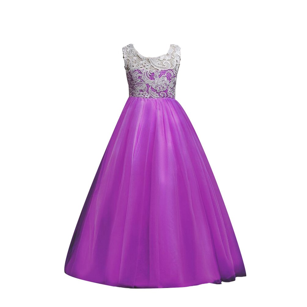 YuanDian Niñas Niños Largo Vestido Gala Encaje Vestidos De Ceremonia ...