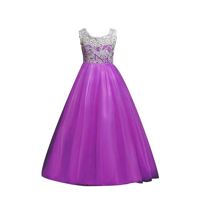 YuanDian Niñas Niños Largo Vestido Gala Encaje Vestidos De Ceremonia Fiesta Elegantes Nena Boda Damas De