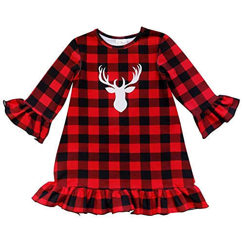 Halloween Red Deer (So Sydney Girls or Toddler Fall Winter Christmas Boutique Holiday Dress Long Sleeves (L (5T), Red & Black Plaid)