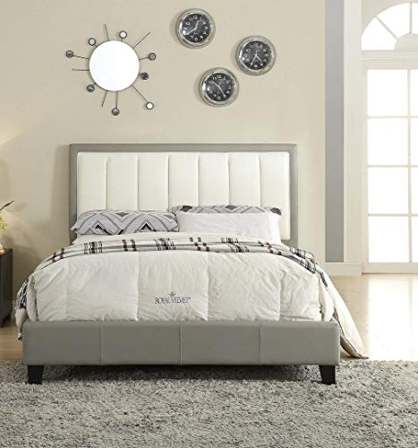 Cream Faux Leather Headboard - ACME Filart Gray and Cream Faux Leather Queen Bed