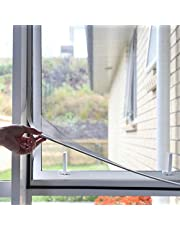 Adjustable DIY Magnetic Window Screen Fits Any Size Smaller with White Frame Various Mesh Available