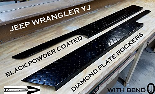 JEEP YJ Wrangler Black Powder Coated Diamond plate Rocker Panels with / 90°bend