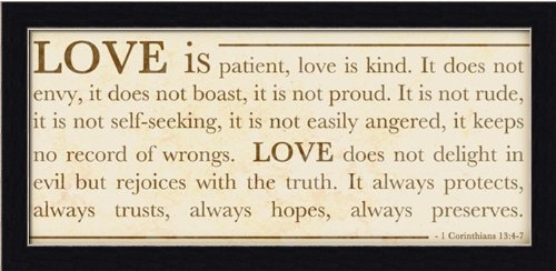 Amazon Love is Patient by Anna Quach Inspirational Sign 19.5x9.5 in Wall Art Print Framed Love Is Patient Love Is Kind Posters & Prints