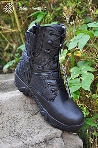 No.66 Town Men's Shock-Absorbent Hiking Boot With Zipper,Climbing Boots 1# Black(leather and Nylon)