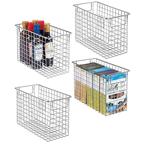 mDesign Household Metal Wire Storage Organizer Bins Basket with Handles for Kitchen Cabinets, Pantry, Bathroom, Landry Room, Closets, Garage - 4 Pack, 12 x 6 x 8, Chrome