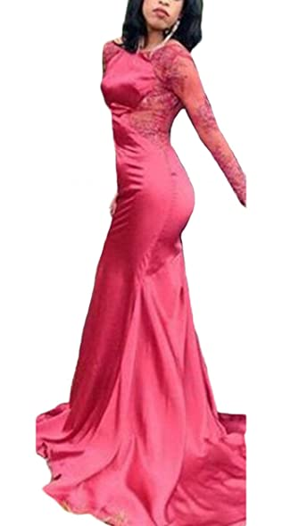 Ulbridal Womens Sexy Lace Long Sleeve Backless Prom Dress Red Mermaid Evening Gowns